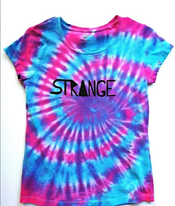 Bright Blue and Pink Tiedye Tee with Strange Logo