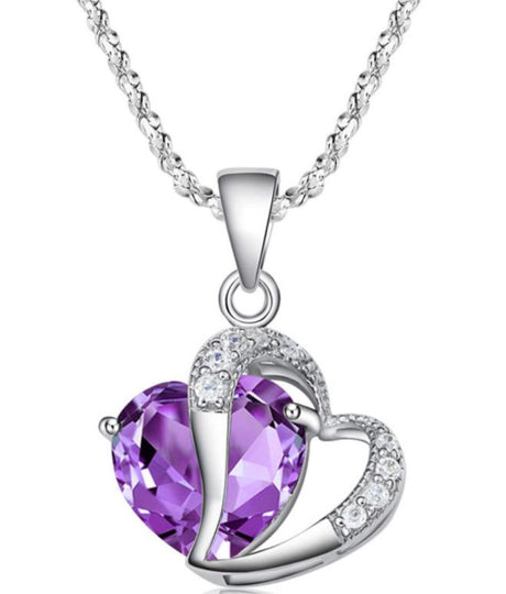Colored Crystal Heart Necklace