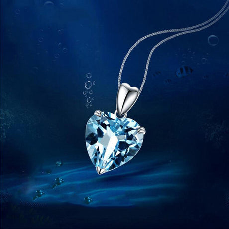 Platinum Plated Blue Heart Necklace