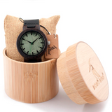 Sustainable Bamboo Wood Green Face Leather Band Quartz Watch-Causes Crate