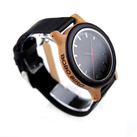 Sustainable Bamboo Watch with Soft Genuine Leather Band