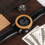 Water Resistant, Durable Wood Watch with Cool Rotating Dial  & Genuine Leather Wristband