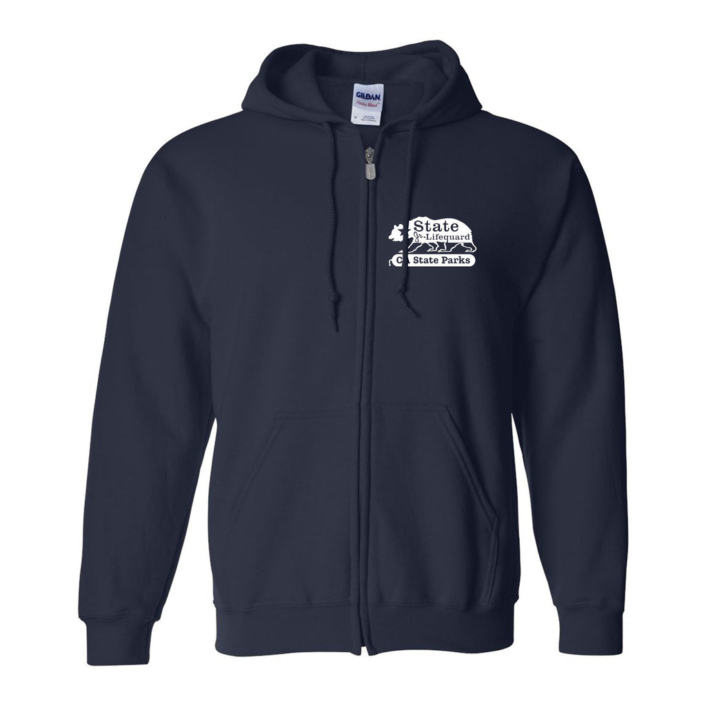State Bear Zip Hooded Sweatshirt- Navy