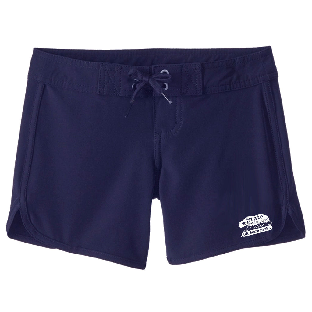 State Jr. Guards Girls Bear Boardshort Swim Trunks - Red and Navy
