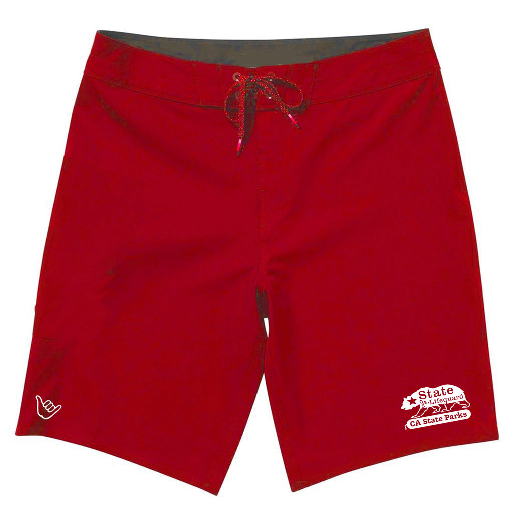 Junior Guards Boys Shaka Boardshort Swim Trunks - Navy & Red