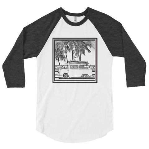 3/4 sleeve raglan bus shirt