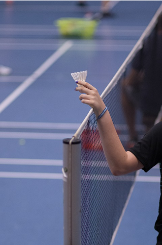 Person holding a shuttlecock over a badminton net
