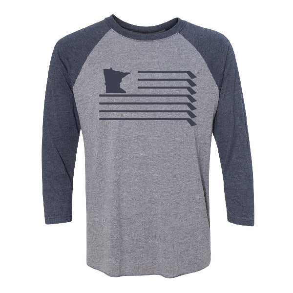 MN Flag Baseball Tshirt - Grey/Navy