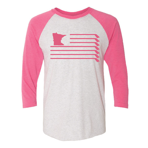 MN U.S.A. Flag Henley - White/Pink