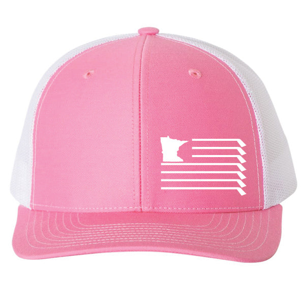 MN Flag Hat - Hot Pink/White