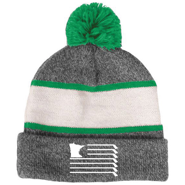 MN Knit Pom Hat - Grey/White/Kelly