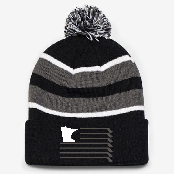 MN Flag Knit Pom Hat - Black/Grey/White