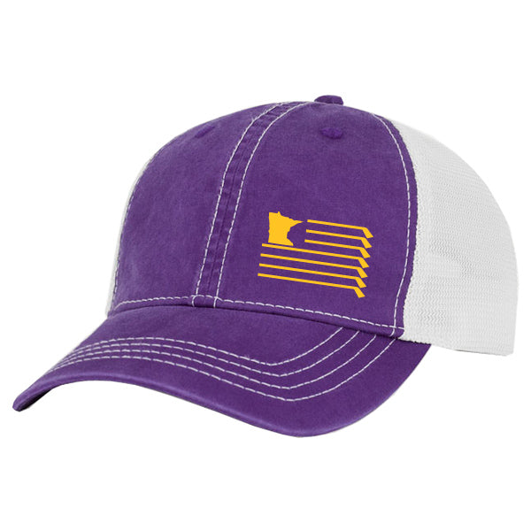 MN Flag Trucker Hat - Purple