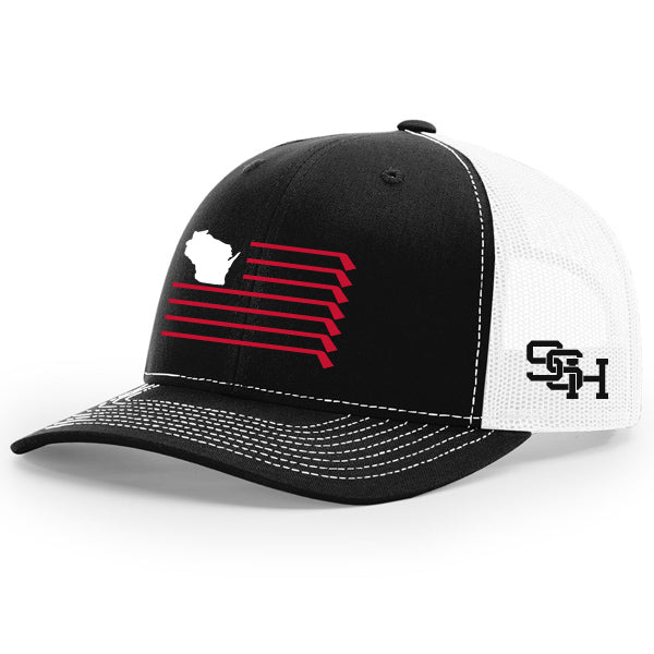 WI Flag Hat - Black/White