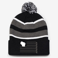WI Flag Knit Pom Hat - Black/Grey/White