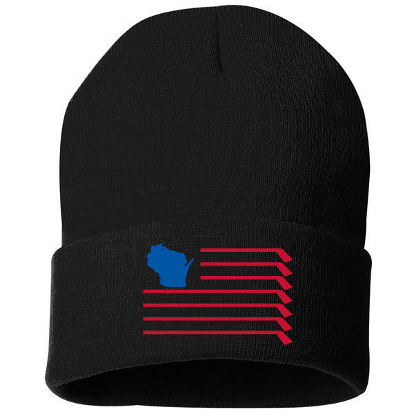 WI Flag Knit Hat - Black