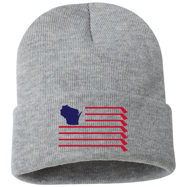 WI Flag Knit Hat - Heather Grey