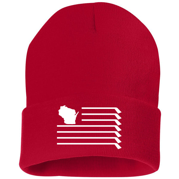 WI Flag Knit Hat - Red
