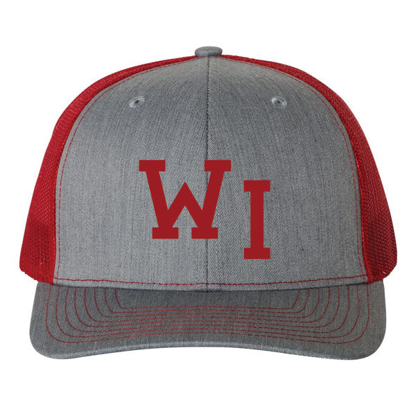 WI Hat - Heather Grey/Red