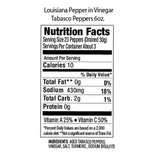 Louisiana Brand Tabasco Peppers in Vinegar