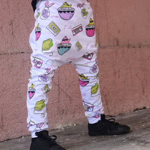 White Hip Hop Harem Pants or Shorts - Made-to-Order