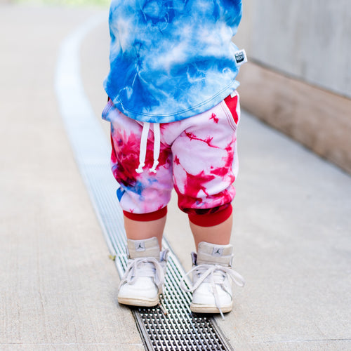 Red/White/Blue Tie Dye Pocket Shorts