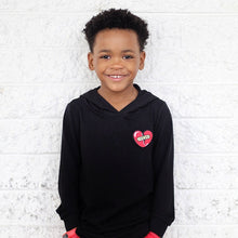 Load image into Gallery viewer, Black Long Sleeve Hoodie with Heart Patch
