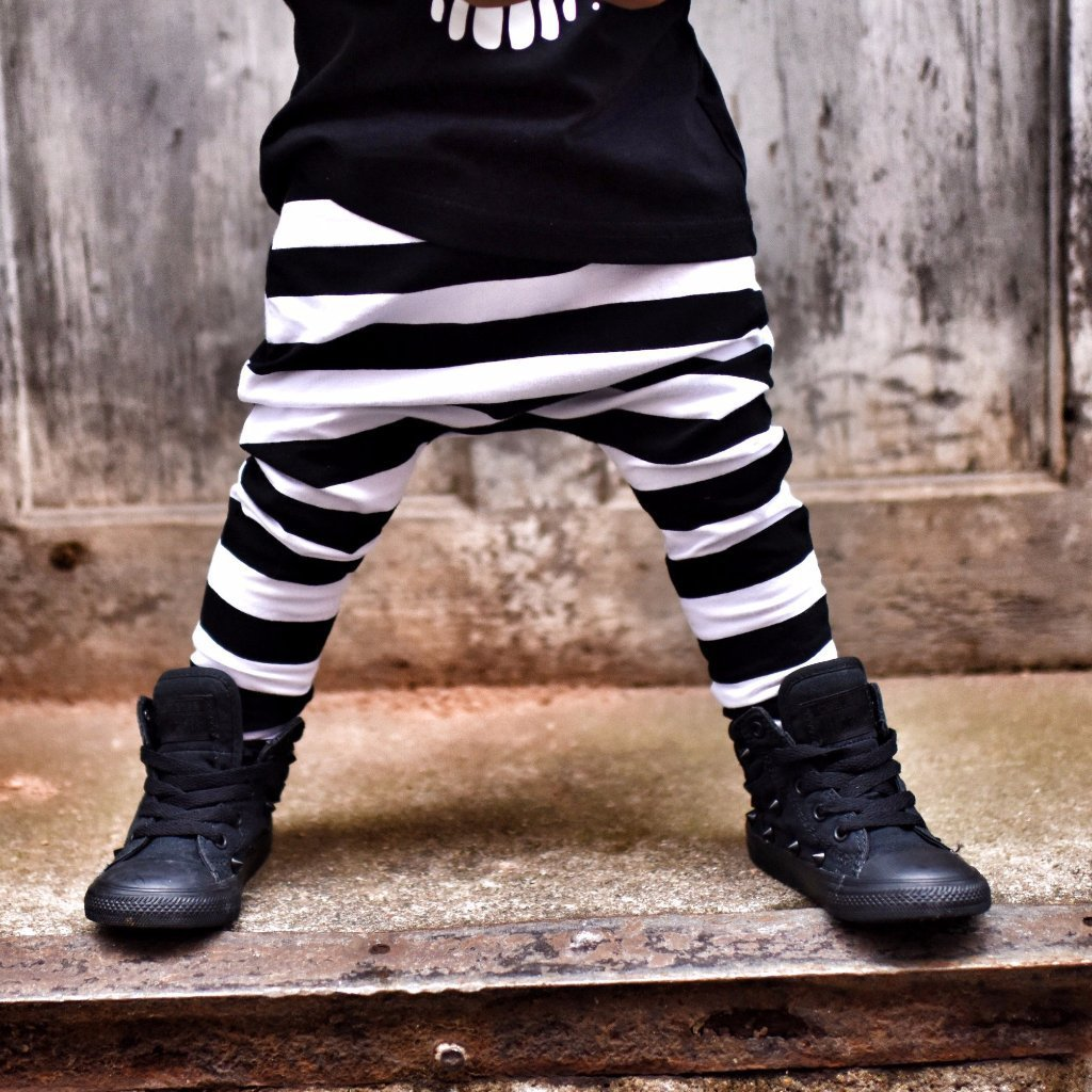 Black & White Stripe Harem Pants