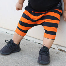 Load image into Gallery viewer, Orange & Black Stripe Harem Shorts