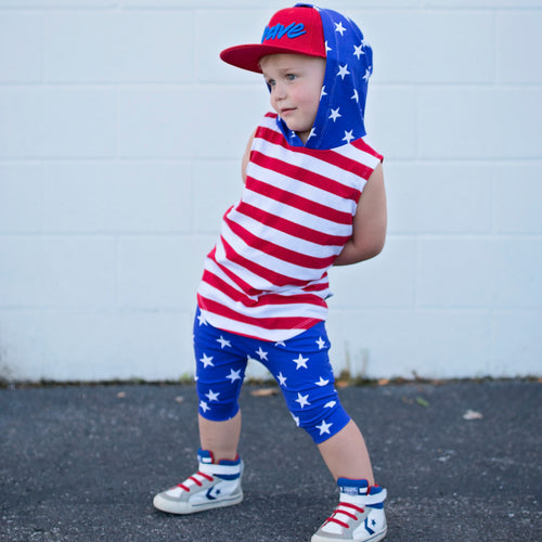 baby boy america flag outfit usa red white and blue stars and stripes toddler boy 4th of july outfit harem shorts sleeveless hoodie patriotic kids