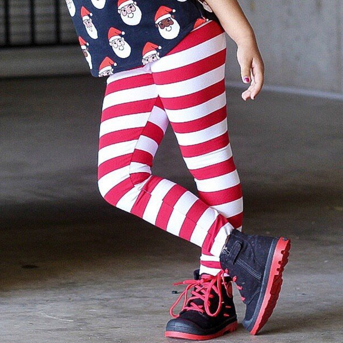Red & White Stripe Leggings