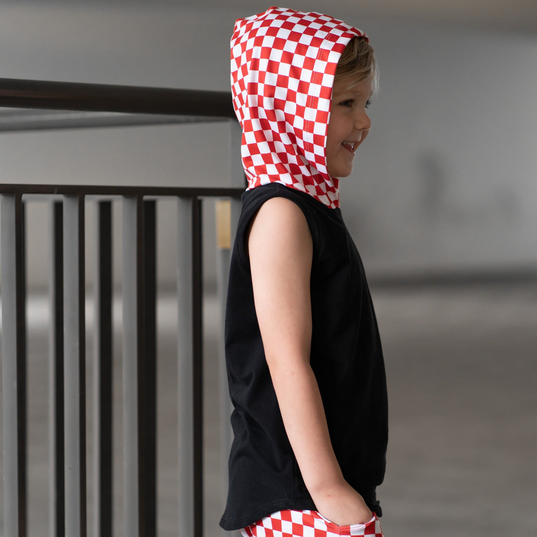 Black Tank w/ Red & White Checker Hoodie