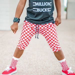 Red and White Checker JOGGER Shorts