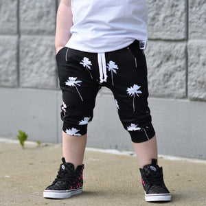 Black Palm Tree Pocket Shorts
