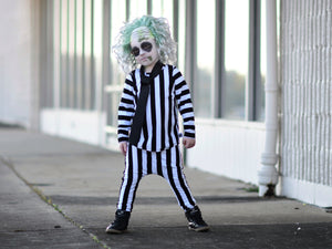 Beetlejuice Costume Vertical Stripe T-Shirt and Pants