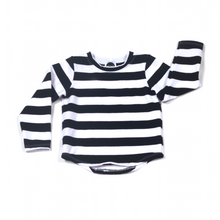 Load image into Gallery viewer, Black/White Stripe Short or Long Sleeve Tee