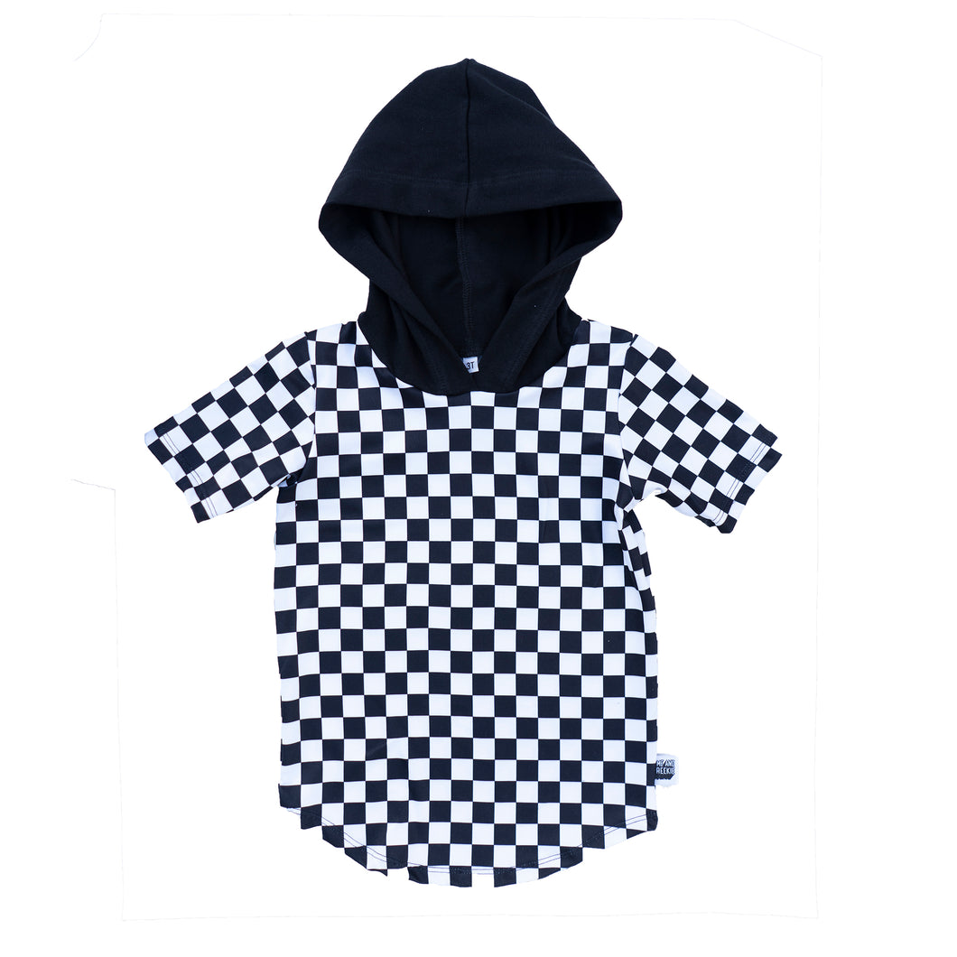 Black & White Checkers Short Sleeve Hoodie or Tank
