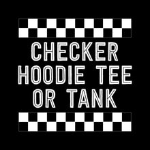 Load image into Gallery viewer, Black & White Checkers Short Sleeve Hoodie or Tank