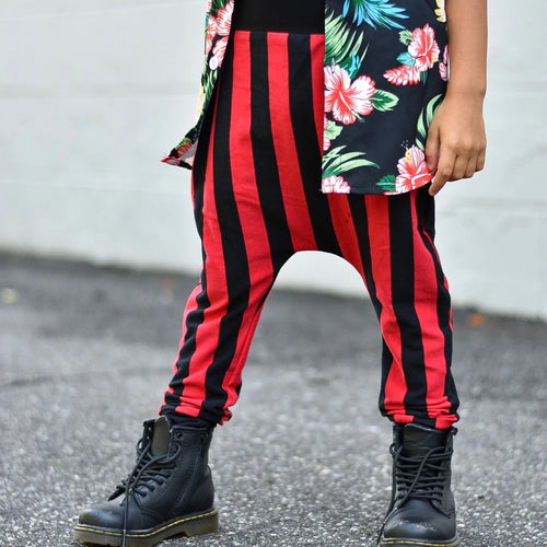 Red & Black Vertical Stripe Harem Pants