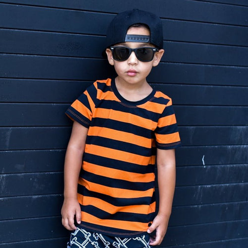 Orange & Black Stripe Short or Long Sleeve Tee