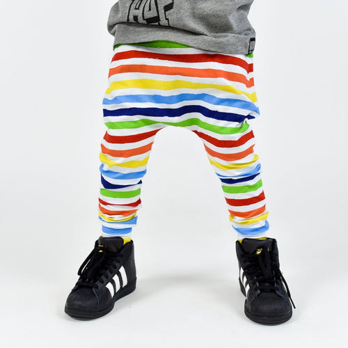 Finger Paint Rainbow Stripe Harem Pants- Made-to-Order