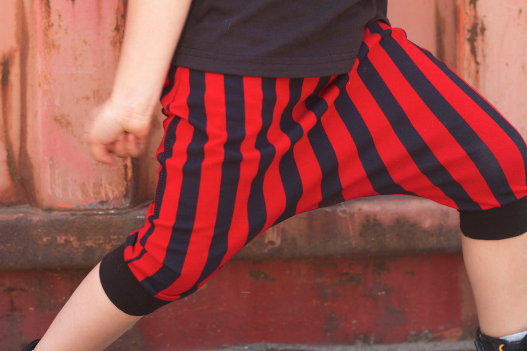 Red & Black Stripe Harem Shorts