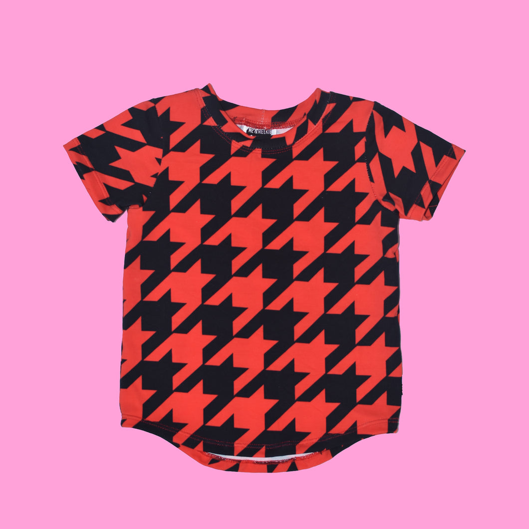 Red Houndstooth Short Sleeve Tee- RTS