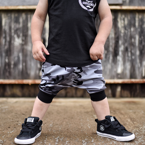 toddler boy grey black and white camo harem shorts