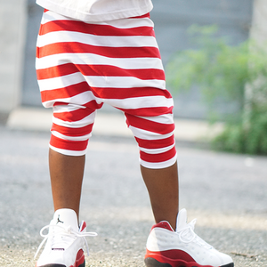 Red & White Stripe Harem Shorts