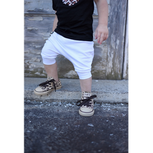 Load image into Gallery viewer, toddler boy toddler girl all white drop crotch harem shorts