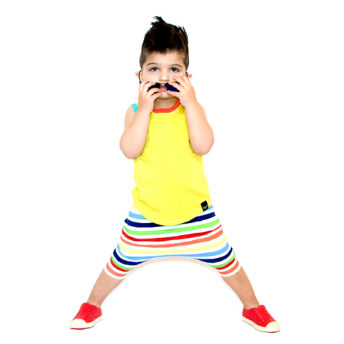 Finger Paint Rainbow Stripe Harem Shorts- Made-to-Order