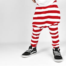 Load image into Gallery viewer, Red/White Stripe Elf Harem Pants
