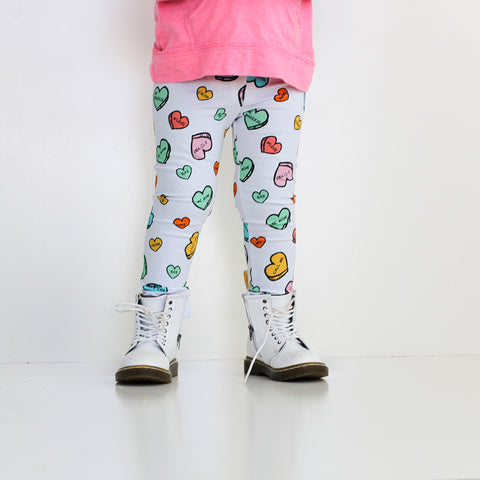White Sweet Heart Leggings