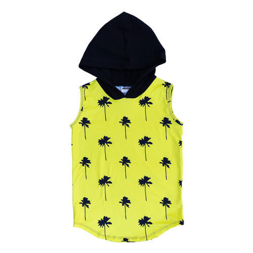 Neon Yellow Palm Tree Hoodie Tank